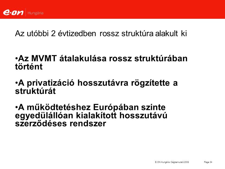 E.ON Hungária Cégbemutató 2008Page 34 Az utóbbi 2 évtizedben rossz struktúra alakult ki Az MVMT átalakulása rossz struktúrában történt A privatizáció
