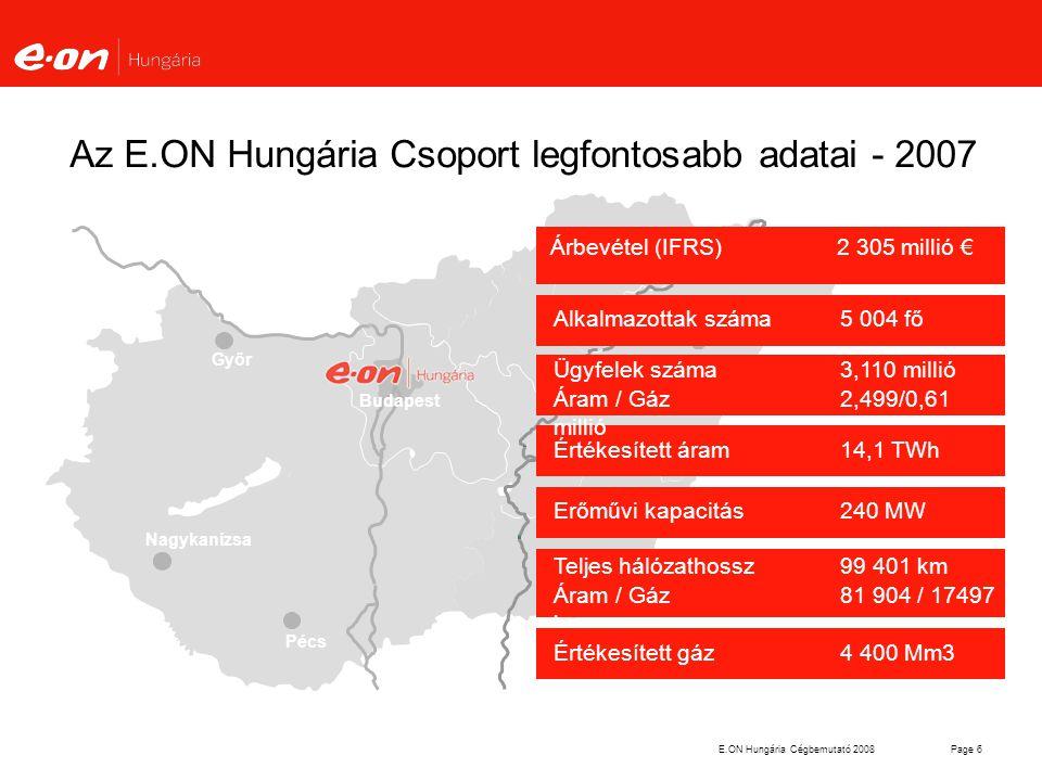E.ON Hungária Cégbemutató 2008Page 17 Az energiamodell jellemzői Más vezetékes iparágaktól (távközlés) eltérő szabályozás.Lényeges elemei: Szabályozott szabad hozzáférés a technikai monopóliumot jelentő vezetékes infrastrukturához Erős szabályozó (regulátor) Alapkérdés a tevékenységek szétválasztása (unbundling): számviteli, jogi, vezetési, tulajdonosi