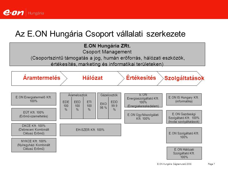 E.ON Hungária Cégbemutató 2008Page 28 A villamosenergia-rendszer fő jellemzője A villamos energia nem tárolható (kivéve:tározós vízerőmű) A termelést és fogyasztást minden pillanatban egyensúlyban kell tartani (rendszerirányítás) Ennek érdekében különböző funkciójú erőművekre van szükség: Alaperőművekre: amelyek az állandó zsinórterhelést viszik Szabályozó erőművekre, amelyek tartják az egyensúlyt Csúcserőművekre:amelyek csak rövid ideig üzemelnek (megújulók problémája: nem szabályozható a termelés)