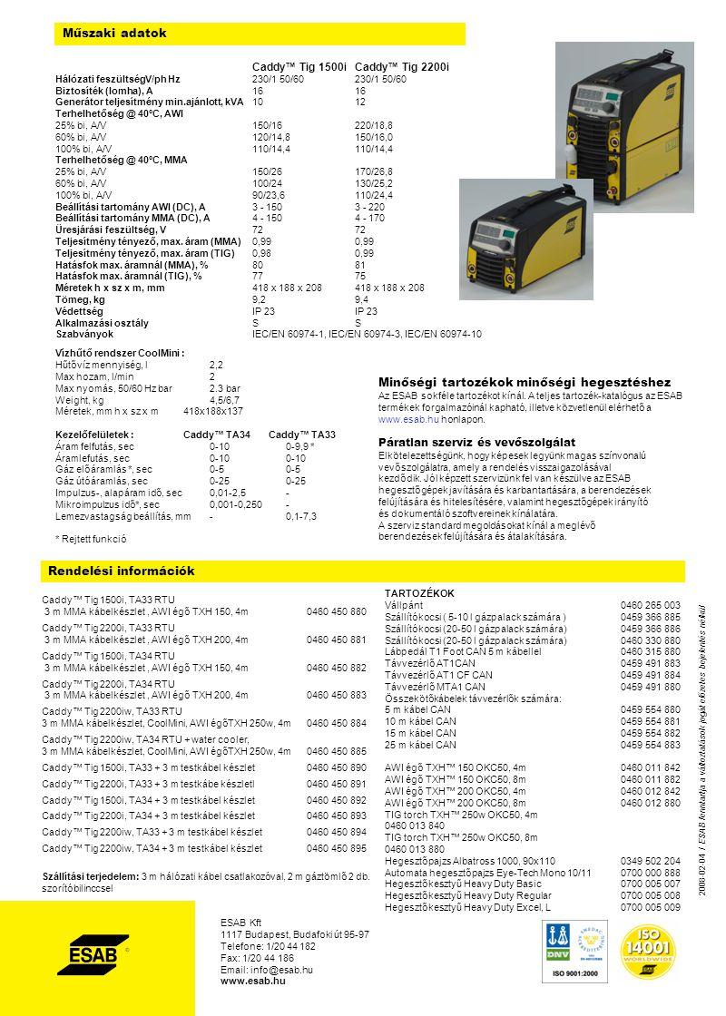 Rendelési információk Caddy™ Tig 1500i, TA33 RTU 3 m MMA kábelkészlet, AWI égő TXH 150, 4m0460 450 880 Caddy™ Tig 2200i, TA33 RTU 3 m MMA kábelkészlet, AWI égő TXH 200, 4m 0460 450 881 Caddy™ Tig 1500i, TA34 RTU 3 m MMA kábelkészlet, AWI égő TXH 150, 4m 0460 450 882 Caddy™ Tig 2200i, TA34 RTU 3 m MMA kábelkészlet, AWI égő TXH 200, 4m 0460 450 883 Caddy™ Tig 2200iw, TA33 RTU 3 m MMA kábelkészlet, CoolMini, AWI égőTXH 250w, 4m 0460 450 884 Caddy™ Tig 2200iw, TA34 RTU + water cooler, 3 m MMA kábelkészlet, CoolMini, AWI égőTXH 250w, 4m 0460 450 885 Caddy™ Tig 1500i, TA33 + 3 m testkábel készlet0460 450 890 Caddy™ Tig 2200i, TA33 + 3 m testkábe készletl 0460 450 891 Caddy™ Tig 1500i, TA34 + 3 m testkábel készlet0460 450 892 Caddy™ Tig 2200i, TA34 + 3 m testkábel készlet0460 450 893 Caddy™ Tig 2200iw, TA33 + 3 m testkábel készlet0460 450 894 Caddy™ Tig 2200iw, TA34 + 3 m testkábel készlet 0460 450 895 Szállítási terjedelem: 3 m hálózati kábel csatlakozóval, 2 m gáztömlő 2 db.