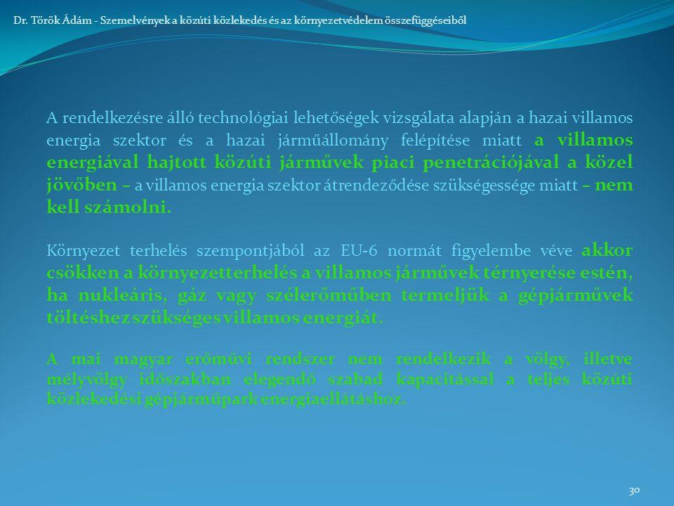 30 Dr. Török Ádám - Szemelvények a közúti közlekedés és az környezetvédelem összefüggéseiből A rendelkezésre álló technológiai lehetőségek vizsgálata