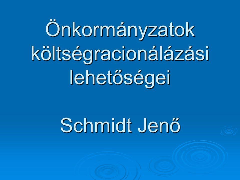 Önkormányzatok költségracionálázási lehetőségei Schmidt Jenő