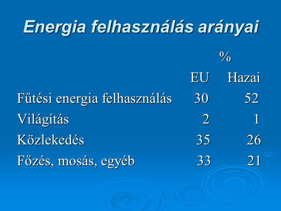 Energia felhasználás arányai % EU Hazai EU Hazai Fűtési energia felhasználás 30 52 Világítás 2 1 Közlekedés 35 26 Főzés, mosás, egyéb 33 21