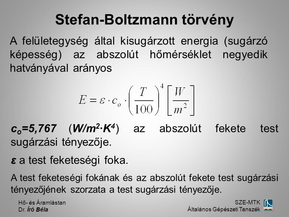 Hő- és Áramlástan Dr. Író Béla SZE-MTK Általános Gépészeti Tanszék Stefan-Boltzmann törvény c o =5,767 (W/m 2 ·K 4 ) az abszolút fekete test sugárzási