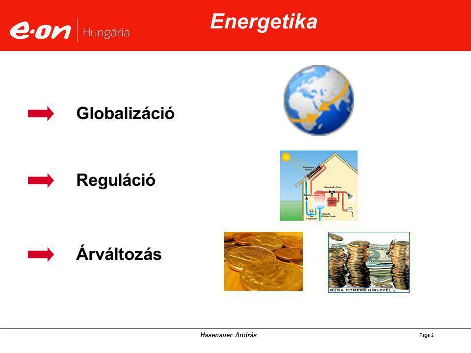 Hasenauer András Page 2 Globalizáció Reguláció Árváltozás Energetika