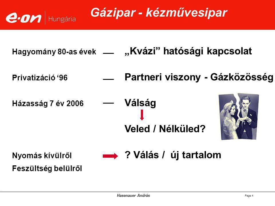 """Hasenauer András Page 4 Gázipar - kézművesipar """"Kvázi hatósági kapcsolat Partneri viszony - Gázközösség Válság Veled / Nélküled."""