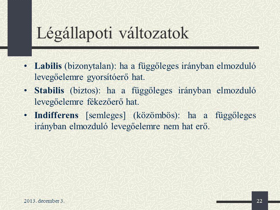 2013. december 3.22 Légállapoti változatok Labilis (bizonytalan): ha a függőleges irányban elmozduló levegőelemre gyorsítóerő hat. Stabilis (biztos):