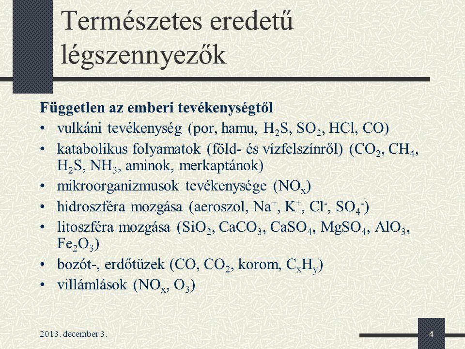 2013. december 3.4 Természetes eredetű légszennyezők Független az emberi tevékenységtől vulkáni tevékenység (por, hamu, H 2 S, SO 2, HCl, CO) kataboli