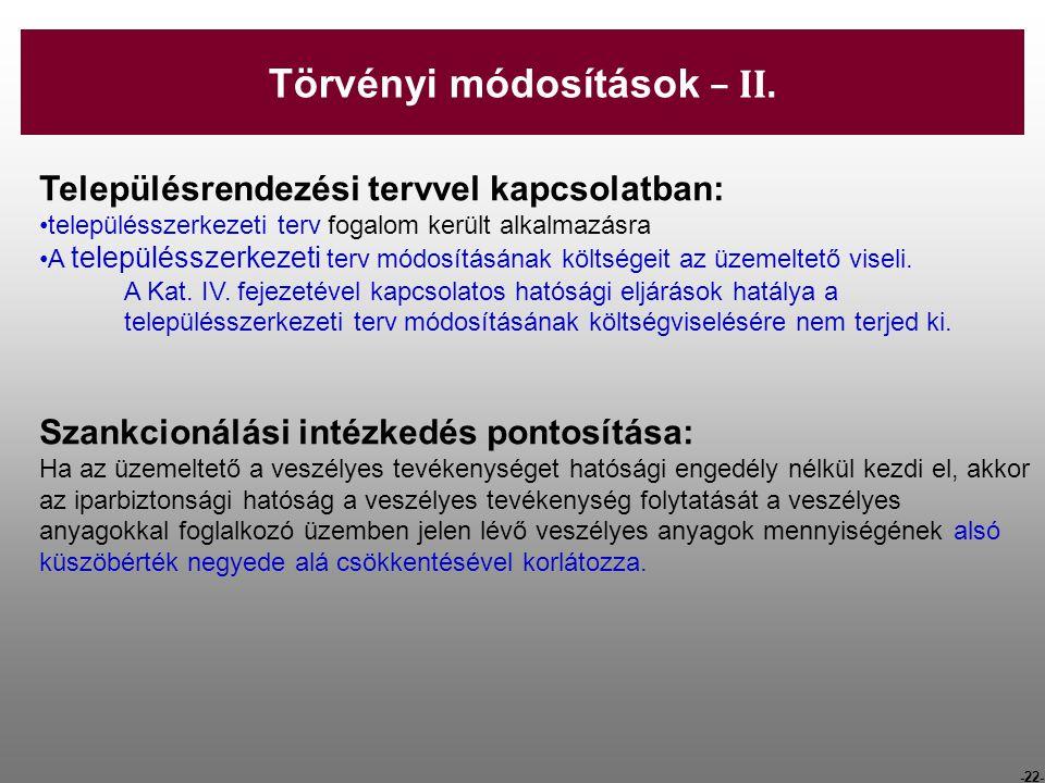 -22- Településrendezési tervvel kapcsolatban: településszerkezeti terv fogalom került alkalmazásra A településszerkezeti terv módosításának költségeit