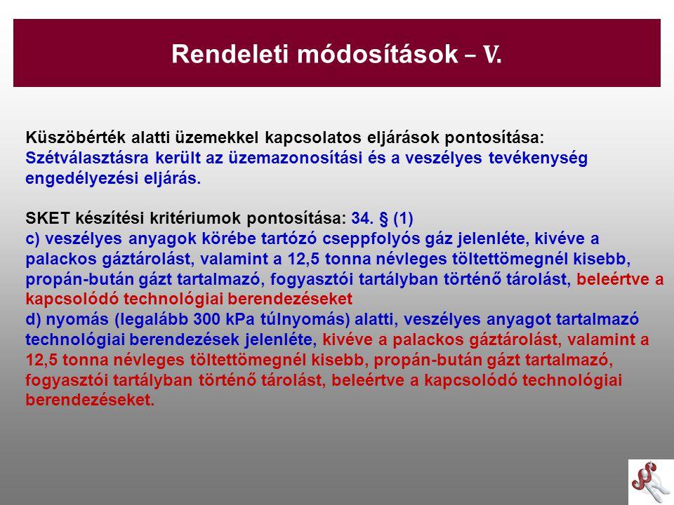 -29- Küszöbérték alatti üzemekkel kapcsolatos eljárások pontosítása: Szétválasztásra került az üzemazonosítási és a veszélyes tevékenység engedélyezés
