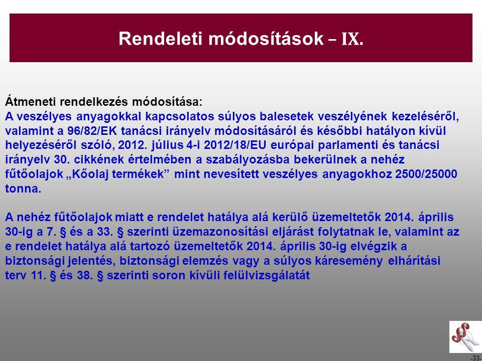-33- Átmeneti rendelkezés módosítása: A veszélyes anyagokkal kapcsolatos súlyos balesetek veszélyének kezeléséről, valamint a 96/82/EK tanácsi irányel
