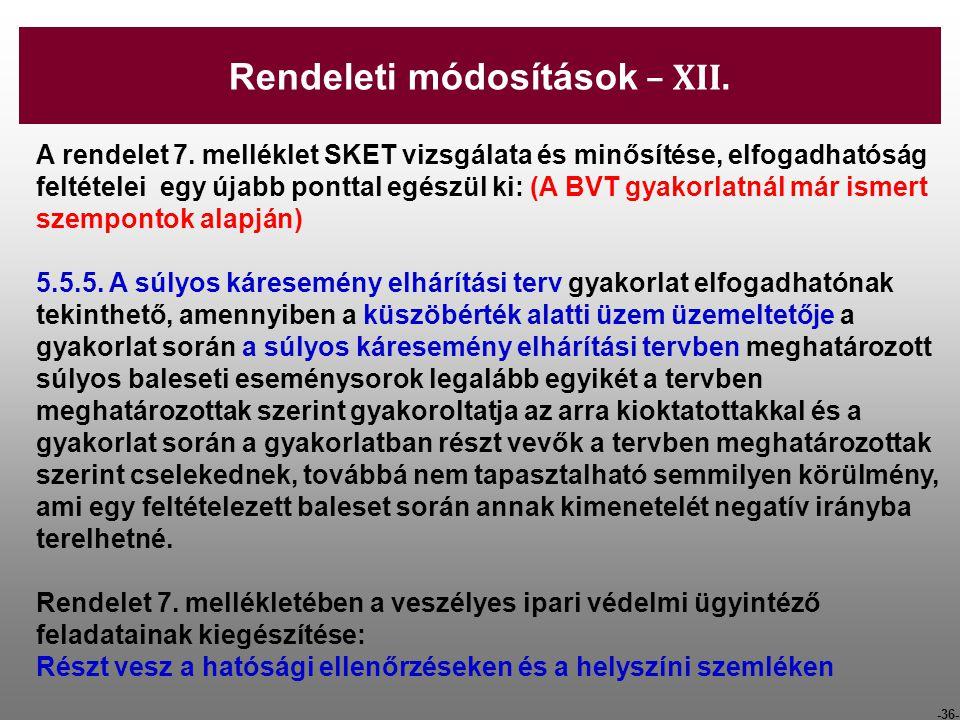 -36- A rendelet 7. melléklet SKET vizsgálata és minősítése, elfogadhatóság feltételei egy újabb ponttal egészül ki: (A BVT gyakorlatnál már ismert sze