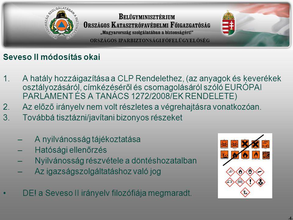 -4- Seveso II módosítás okai 1.A hatály hozzáigazítása a CLP Rendelethez, (az anyagok és keverékek osztályozásáról, címkézéséről és csomagolásáról szó