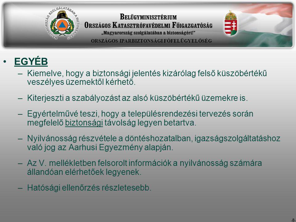 -29- Küszöbérték alatti üzemekkel kapcsolatos eljárások pontosítása: Szétválasztásra került az üzemazonosítási és a veszélyes tevékenység engedélyezési eljárás.