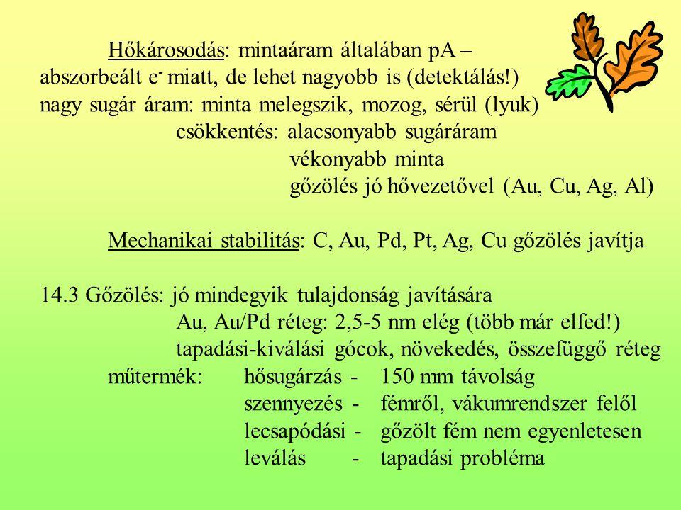 Hőkárosodás: mintaáram általában pA – abszorbeált e - miatt, de lehet nagyobb is (detektálás!) nagy sugár áram: minta melegszik, mozog, sérül (lyuk) csökkentés: alacsonyabb sugáráram vékonyabb minta gőzölés jó hővezetővel (Au, Cu, Ag, Al) Mechanikai stabilitás: C, Au, Pd, Pt, Ag, Cu gőzölés javítja 14.3 Gőzölés: jó mindegyik tulajdonság javítására Au, Au/Pd réteg: 2,5-5 nm elég (több már elfed!) tapadási-kiválási gócok, növekedés, összefüggő réteg műtermék:hősugárzás -150 mm távolság szennyezés -fémről, vákumrendszer felől lecsapódási -gőzölt fém nem egyenletesen leválás -tapadási probléma