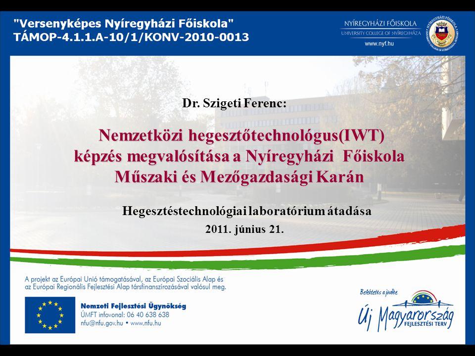 Nemzetközi hegesztőtechnológus(IWT) képzés megvalósítása a Nyíregyházi Főiskola Műszaki és Mezőgazdasági Karán Nemzetközi hegesztőtechnológus(IWT) kép