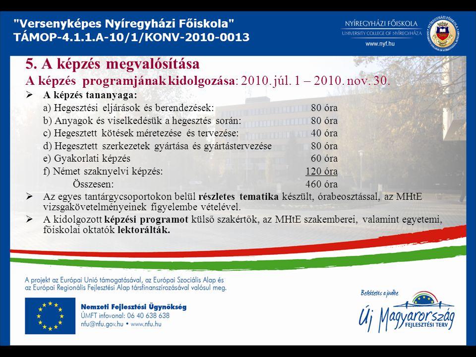 5. A képzés megvalósítása A képzés programjának kidolgozása: 2010. júl. 1 – 2010. nov. 30.  A képzés tananyaga: a) Hegesztési eljárások és berendezés