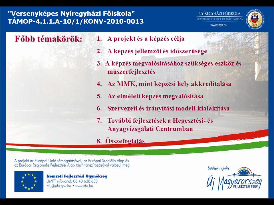 1.A projekt és a képzés célja 2.A képzés jellemzői és időszerűsége 3. A képzés megvalósításához szükséges eszköz és műszerfejlesztés 4.Az MMK, mint ké