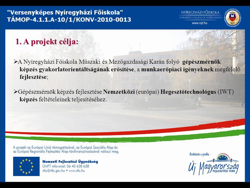 1. A projekt célja:  A Nyíregyházi Főiskola Műszaki és Mezőgazdasági Karán folyó gépészmérnök képzés gyakorlatorientáltságának erősítése, a munkaerőp