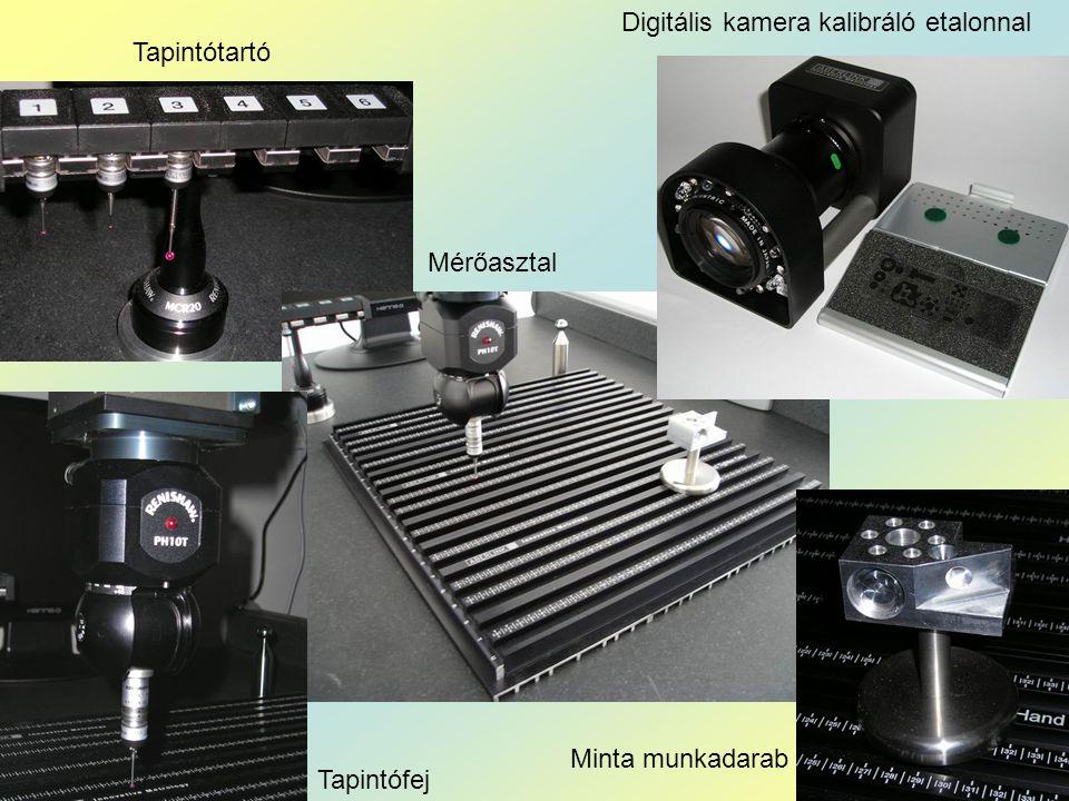 Minta munkadarab Tapintótartó Tapintófej Digitális kamera kalibráló etalonnal Mérőasztal