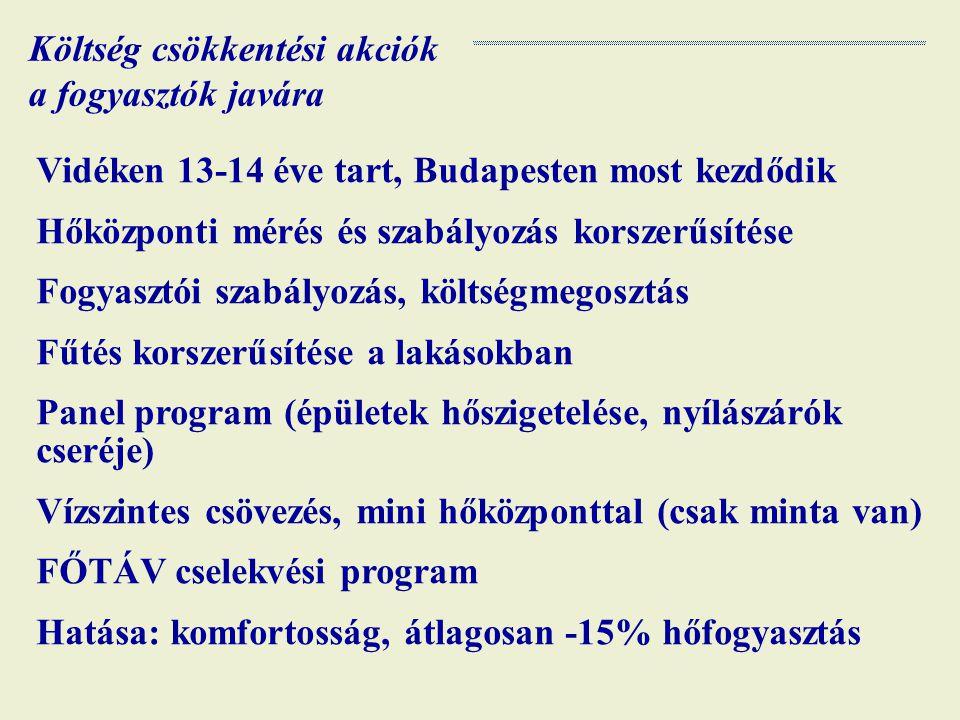 Költség csökkentési akciók a fogyasztók javára Vidéken 13-14 éve tart, Budapesten most kezdődik Hőközponti mérés és szabályozás korszerűsítése Fogyasztói szabályozás, költségmegosztás Fűtés korszerűsítése a lakásokban Panel program (épületek hőszigetelése, nyílászárók cseréje) Vízszintes csövezés, mini hőközponttal (csak minta van) FŐTÁV cselekvési program Hatása: komfortosság, átlagosan -15% hőfogyasztás
