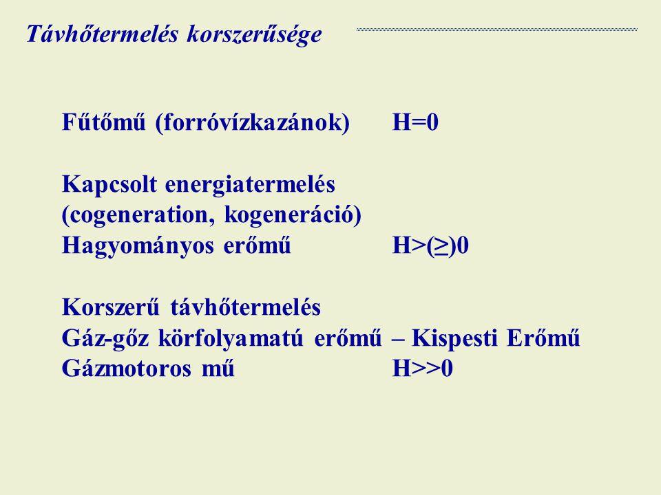 Fűtőmű (forróvízkazánok)H=0 Kapcsolt energiatermelés (cogeneration, kogeneráció) Hagyományos erőműH>(≥)0 Korszerű távhőtermelés Gáz-gőz körfolyamatú erőmű – Kispesti Erőmű Gázmotoros műH>>0 Távhőtermelés korszerűsége
