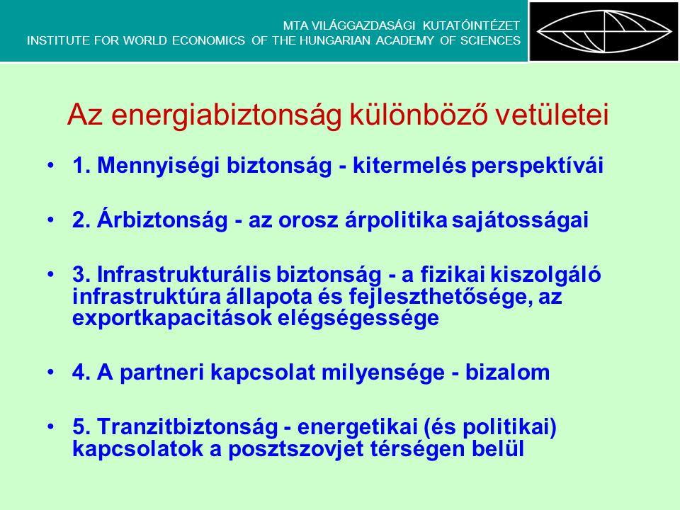 MTA VILÁGGAZDASÁGI KUTATÓINTÉZET INSTITUTE FOR WORLD ECONOMICS OF THE HUNGARIAN ACADEMY OF SCIENCES Az energiabiztonság különböző vetületei 1. Mennyis