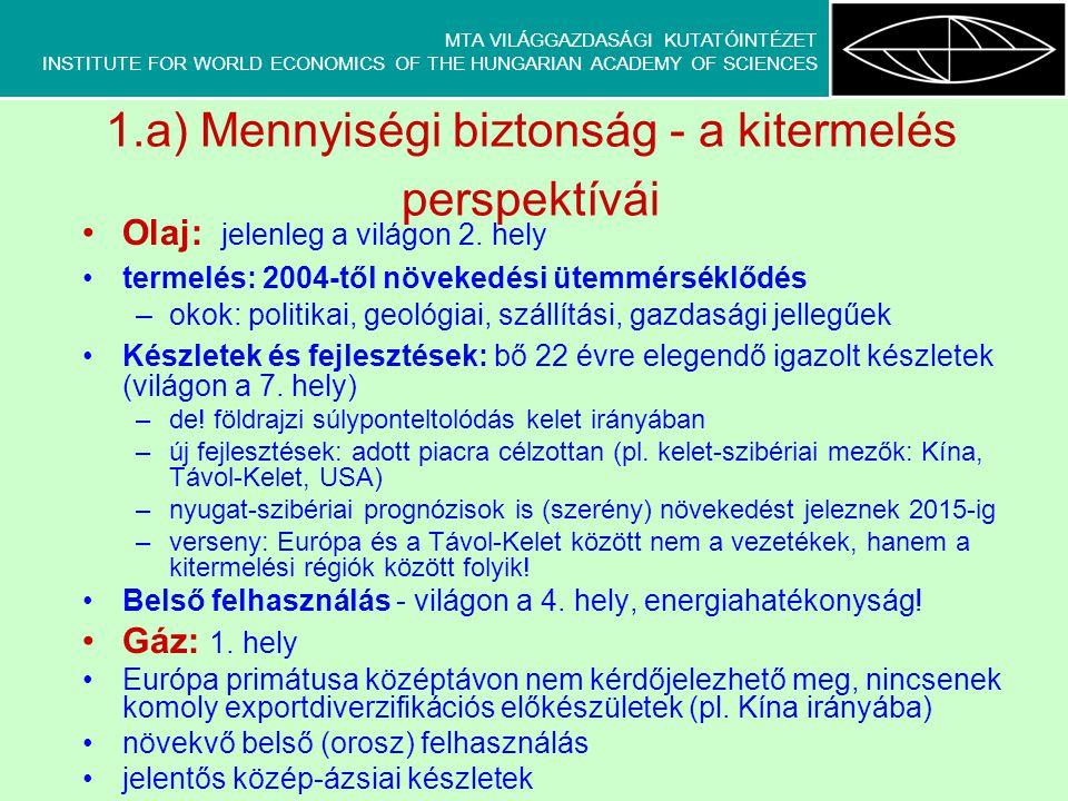 MTA VILÁGGAZDASÁGI KUTATÓINTÉZET INSTITUTE FOR WORLD ECONOMICS OF THE HUNGARIAN ACADEMY OF SCIENCES 1.a) Mennyiségi biztonság - a kitermelés perspektí