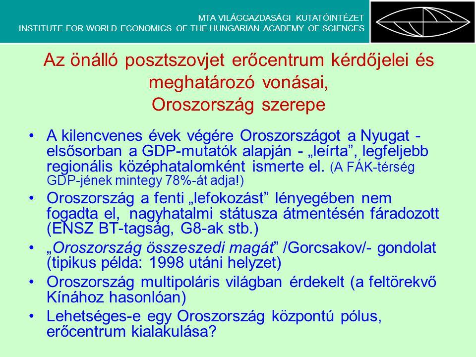 MTA VILÁGGAZDASÁGI KUTATÓINTÉZET INSTITUTE FOR WORLD ECONOMICS OF THE HUNGARIAN ACADEMY OF SCIENCES Az önálló posztszovjet erőcentrum kérdőjelei és me