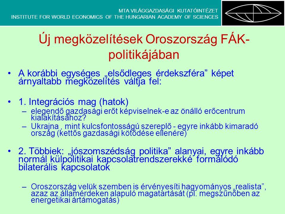 """MTA VILÁGGAZDASÁGI KUTATÓINTÉZET INSTITUTE FOR WORLD ECONOMICS OF THE HUNGARIAN ACADEMY OF SCIENCES Új megközelítések Oroszország FÁK- politikájában A korábbi egységes """"elsődleges érdekszféra képet árnyaltabb megközelítés váltja fel: 1."""