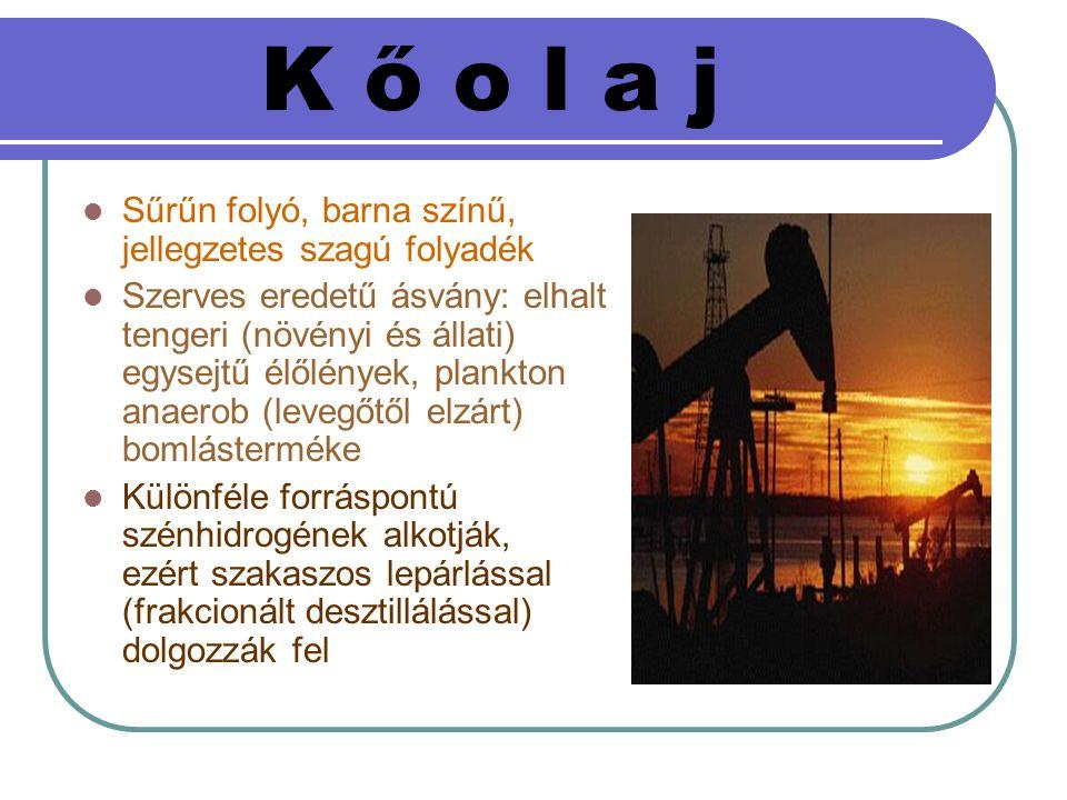 K ő o l a j Sűrűn folyó, barna színű, jellegzetes szagú folyadék Szerves eredetű ásvány: elhalt tengeri (növényi és állati) egysejtű élőlények, plankt