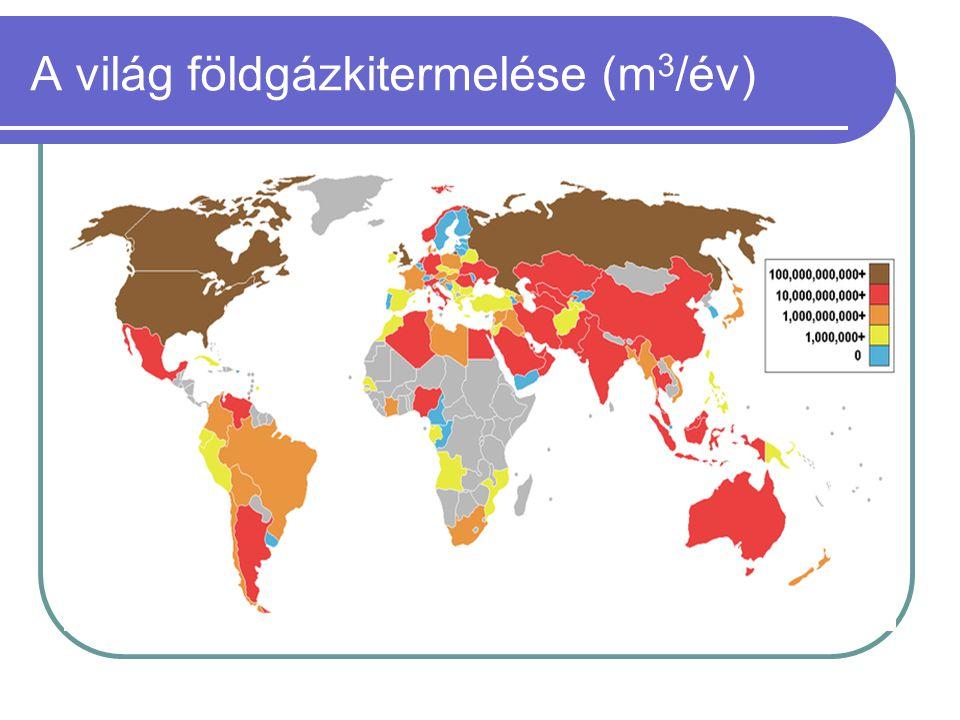 A világ földgázkitermelése (m 3 /év)