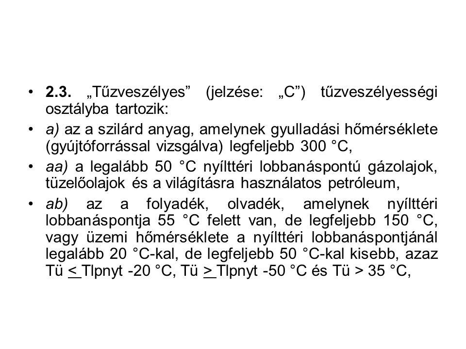 """2.3. """"Tűzveszélyes"""" (jelzése: """"C"""") tűzveszélyességi osztályba tartozik: a) az a szilárd anyag, amelynek gyulladási hőmérséklete (gyújtóforrással vizsg"""