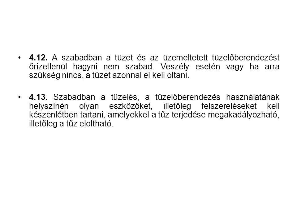 4.12.A szabadban a tüzet és az üzemeltetett tüzelőberendezést őrizetlenül hagyni nem szabad.