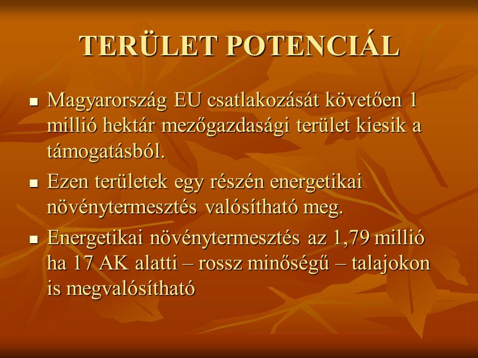 TERÜLET POTENCIÁL Magyarország EU csatlakozását követően 1 millió hektár mezőgazdasági terület kiesik a támogatásból.