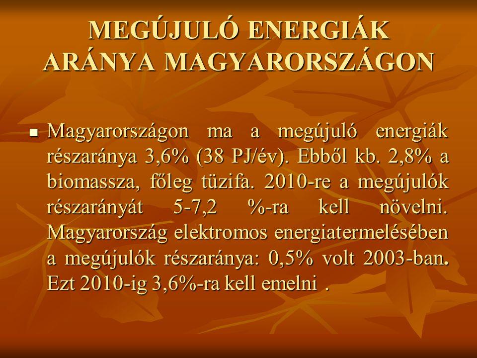 MEGÚJULÓ ENERGIÁK ARÁNYA MAGYARORSZÁGON Magyarországon ma a megújuló energiák részaránya 3,6% (38 PJ/év).