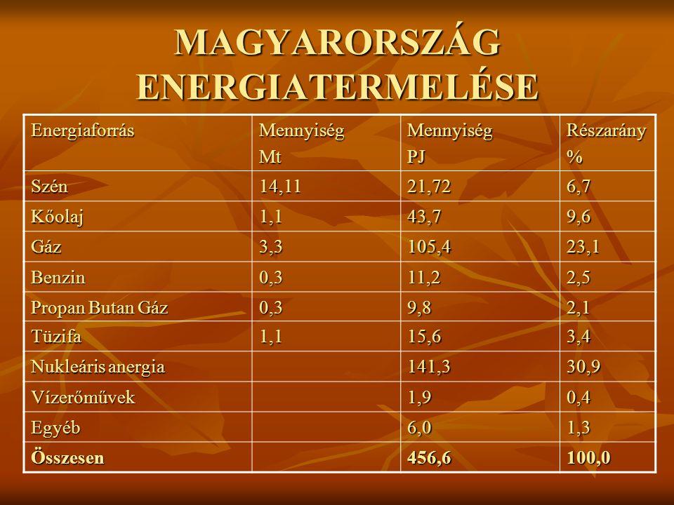 MAGYARORSZÁG ENERGIATERMELÉSE EnergiaforrásMennyiségMtMennyiségPJRészarány% Szén14,1121,726,7 Kőolaj1,143,79,6 Gáz 3,3105,423,1 Benzin0,311,22,5 Propan Butan Gáz 0,39,82,1 Tüzifa1,115,63,4 Nukleáris anergia 141,330,9 Vízerőművek1,90,4 Egyéb6,01,3 Összesen456,6100,0