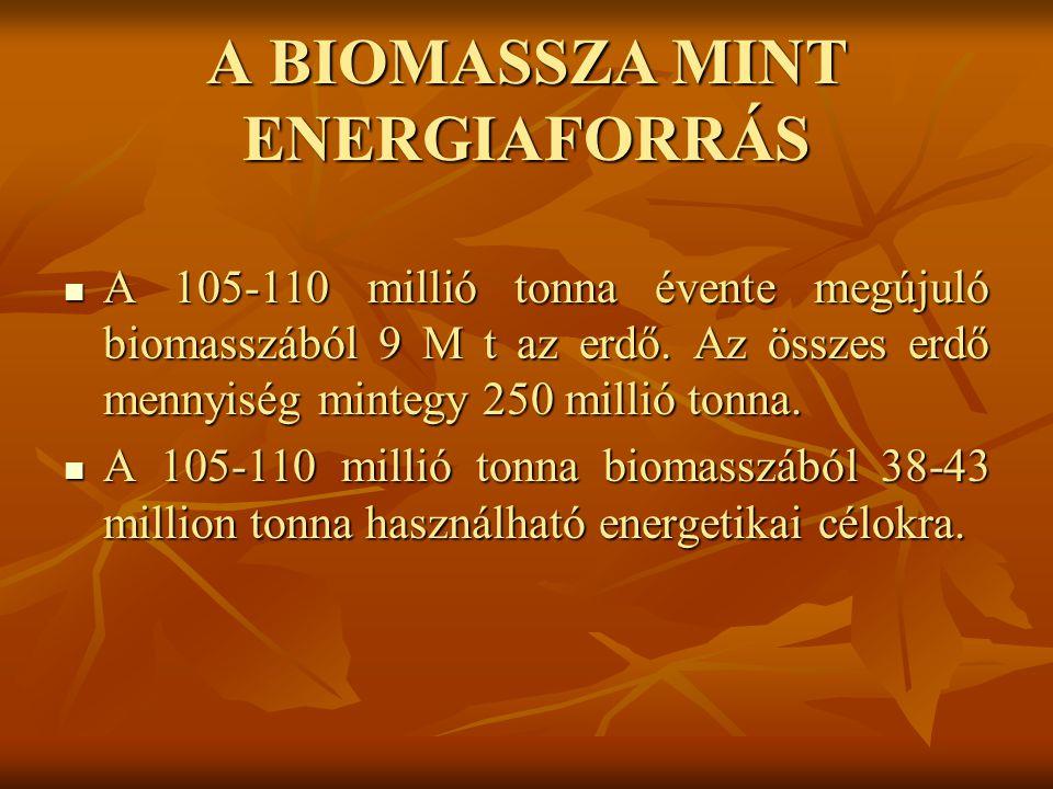 A BIOMASSZA MINT ENERGIAFORRÁS A 105-110 millió tonna évente megújuló biomasszából 9 M t az erdő.