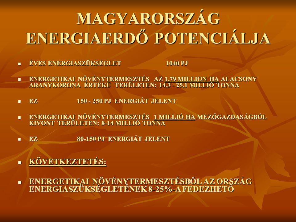 MAGYARORSZÁG ENERGIAERDŐ POTENCIÁLJA ÉVES ENERGIASZÜKSÉGLET1040 PJ ÉVES ENERGIASZÜKSÉGLET1040 PJ ENERGETIKAI NÖVÉNYTERMESZTÉS AZ 1,79 MILLION HA ALACSONY ARANYKORONA ÉRTÉKŰ TERÜLETEN: 14,3 - 25,1 MILLIÓ TONNA ENERGETIKAI NÖVÉNYTERMESZTÉS AZ 1,79 MILLION HA ALACSONY ARANYKORONA ÉRTÉKŰ TERÜLETEN: 14,3 - 25,1 MILLIÓ TONNA EZ 150 - 250 PJ ENERGIÁT JELENT EZ 150 - 250 PJ ENERGIÁT JELENT ENERGETIKAI NÖVÉNYTERMESZTÉS 1 MILLIÓ HA MEZŐGAZDASÁGBÓL KIVONT TERÜLETEN: 8-14 MILLIÓ TONNA ENERGETIKAI NÖVÉNYTERMESZTÉS 1 MILLIÓ HA MEZŐGAZDASÁGBÓL KIVONT TERÜLETEN: 8-14 MILLIÓ TONNA EZ80-150 PJ ENERGIÁT JELENT EZ80-150 PJ ENERGIÁT JELENT KÖVETKEZTETÉS: KÖVETKEZTETÉS: ENERGETIKAI NÖVÉNYTERMESZTÉSBŐL AZ ORSZÁG ENERGIASZÜKSÉGLETÉNEK 8-25%-A FEDEZHETŐ ENERGETIKAI NÖVÉNYTERMESZTÉSBŐL AZ ORSZÁG ENERGIASZÜKSÉGLETÉNEK 8-25%-A FEDEZHETŐ
