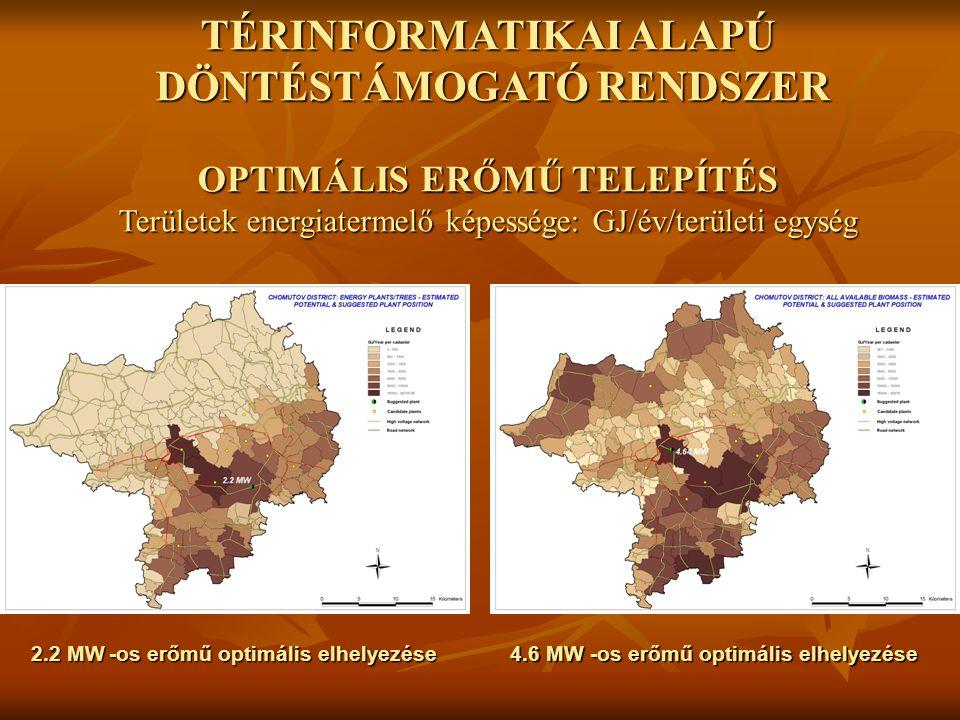 2.2 MW -os erőmű optimális elhelyezése 4.6 MW -os erőmű optimális elhelyezése TÉRINFORMATIKAI ALAPÚ DÖNTÉSTÁMOGATÓ RENDSZER OPTIMÁLIS ERŐMŰ TELEPÍTÉS Területek energiatermelő képessége: GJ/év/területi egység