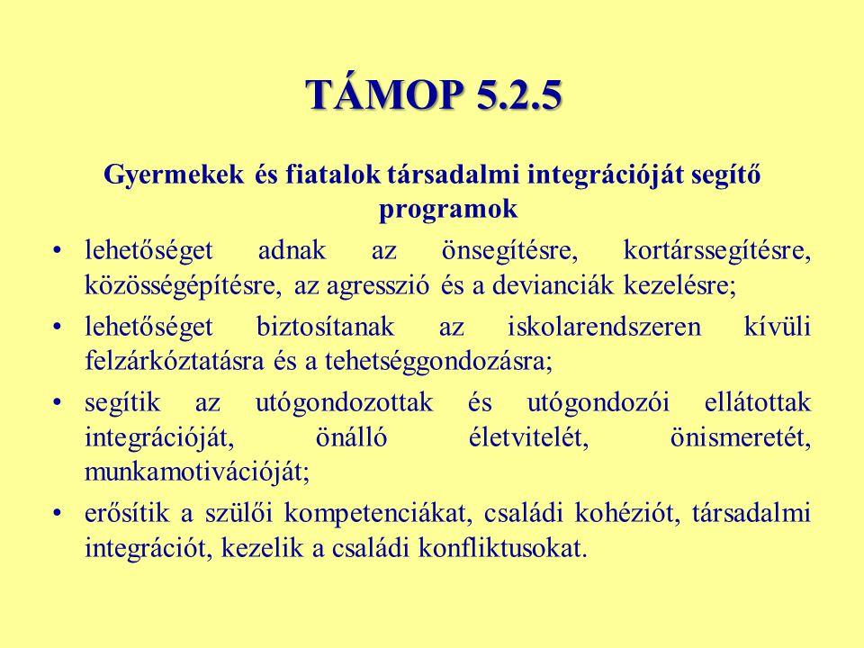 TÁMOP 5.2.5 Gyermekek és fiatalok társadalmi integrációját segítő programok lehetőséget adnak az önsegítésre, kortárssegítésre, közösségépítésre, az a