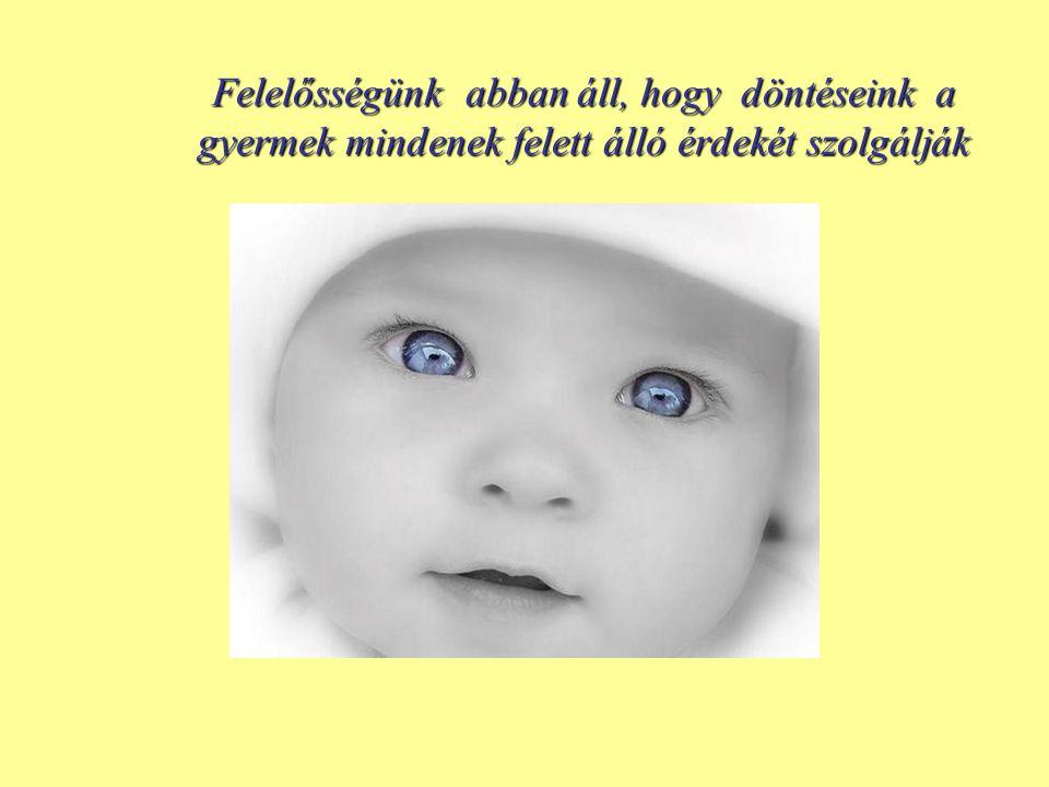 Felelősségünk abban áll, hogy döntéseink a gyermek mindenek felett álló érdekét szolgálják