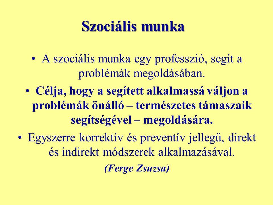 Szociális munka A szociális munka egy professzió, segít a problémák megoldásában. Célja, hogy a segített alkalmassá váljon a problémák önálló – termés