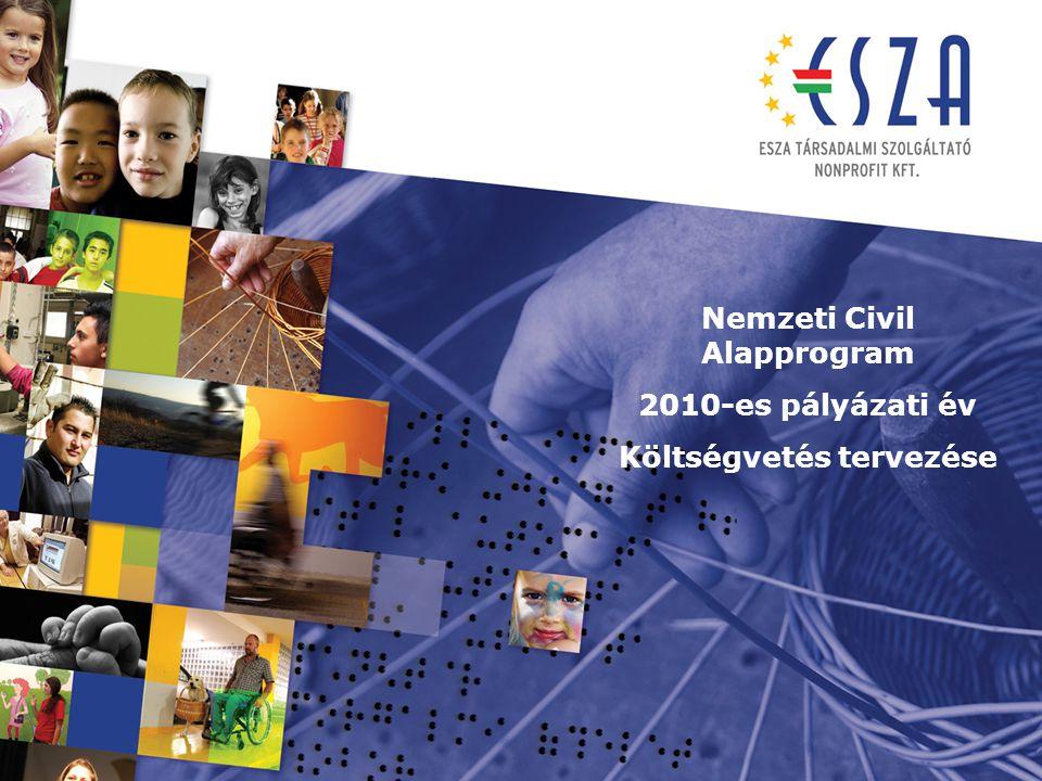 Nemzeti Civil Alapprogram 2010-es pályázati év Költségvetés tervezése