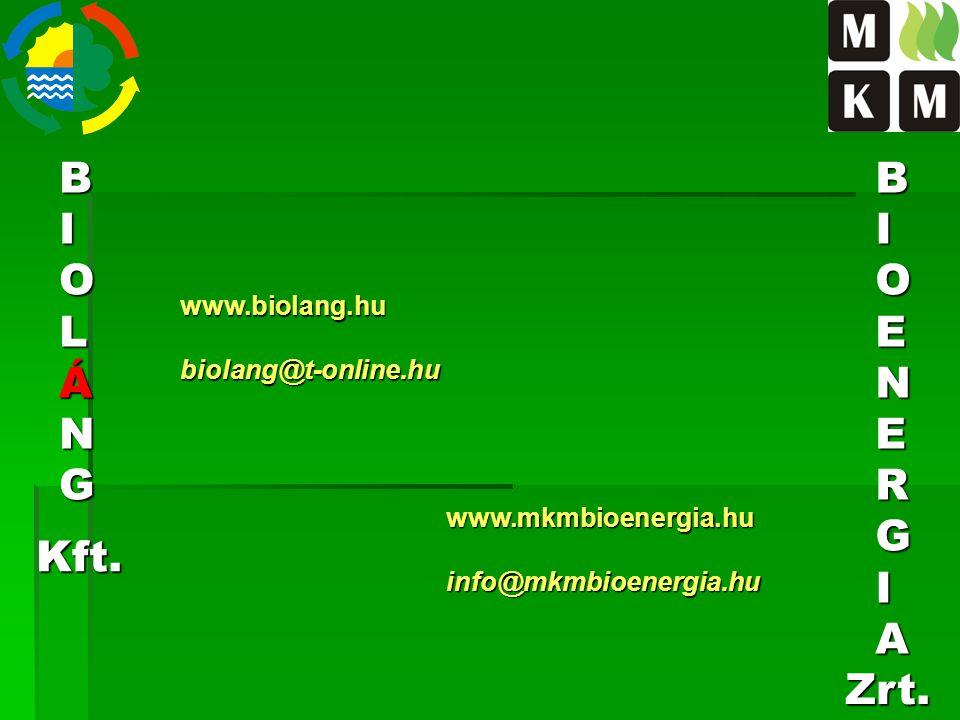 BIOLÁNG www.biolang.hu biolang@t-online.hu BIOENERGIA Kft. Zrt. www.mkmbioenergia.hu info@mkmbioenergia.hu