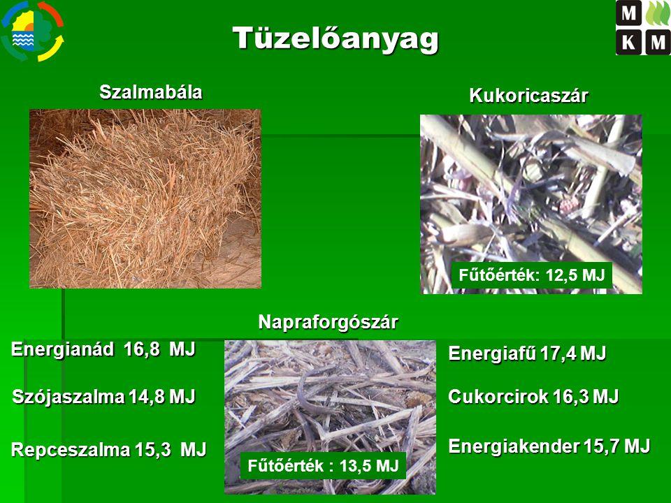 Napraforgószár Kukoricaszár Szalmabála Fűtőérték: 14,5 MJ Energiakender 15,7 MJ Tüzelőanyag Szójaszalma 14,8 MJ Energianád 16,8 MJ Repceszalma 15,3 MJ