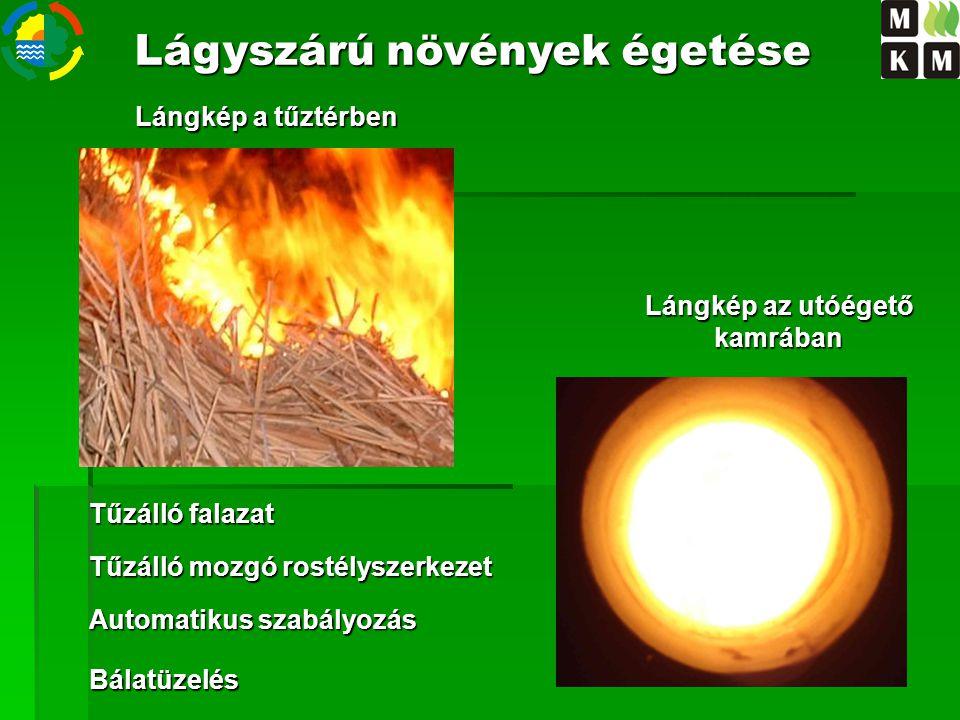 Lángkép az utóégető kamrában Lángkép a tűztérben Bálatüzelés Lágyszárú növények égetése Tűzálló falazat Tűzálló mozgó rostélyszerkezet Automatikus sza