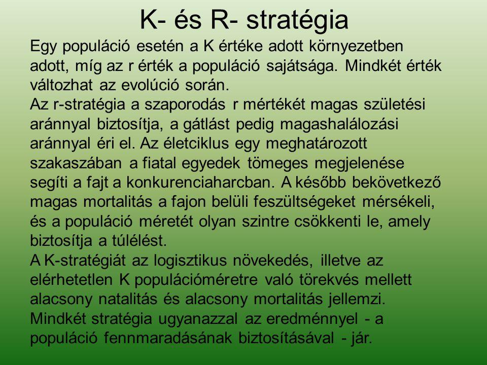 K- és R- stratégia Egy populáció esetén a K értéke adott környezetben adott, míg az r érték a populáció sajátsága. Mindkét érték változhat az evolúció