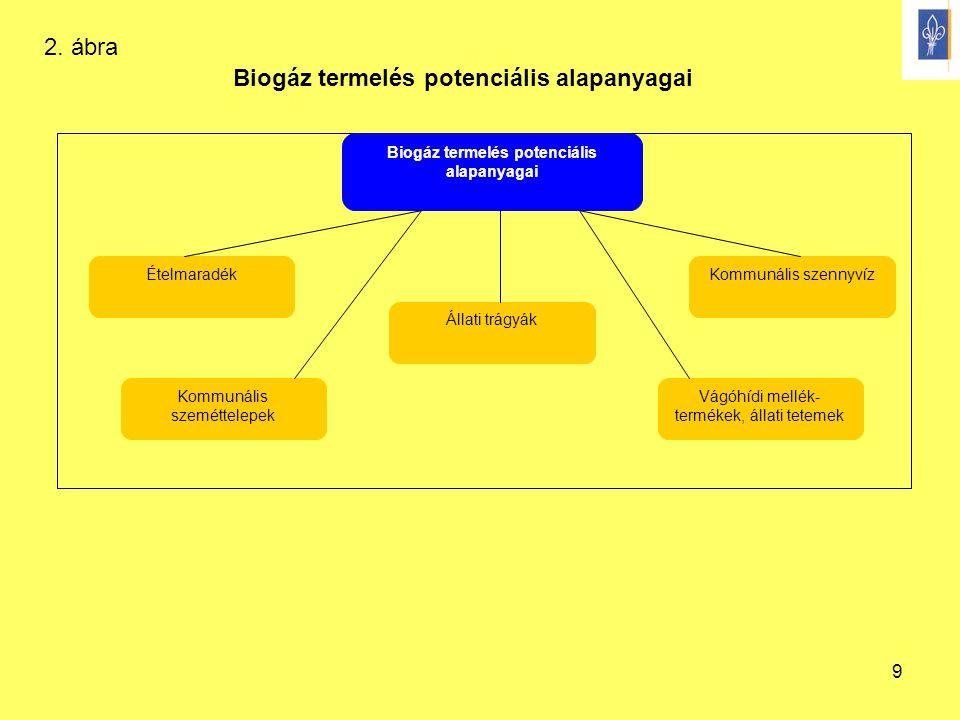 9 Biogáz termelés potenciális alapanyagai Ételmaradék Vágóhídi mellék- termékek, állati tetemek Állati trágyák Kommunális szeméttelepek Kommunális sze
