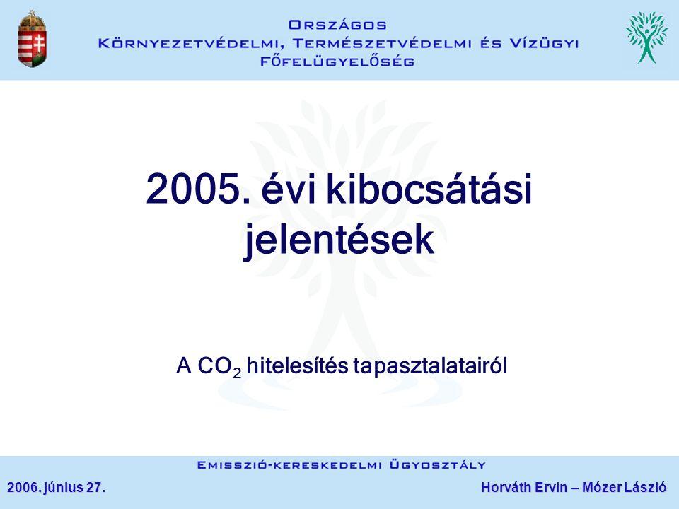 2005. évi kibocsátási jelentések A CO 2 hitelesítés tapasztalatairól 2006. június 27. Horváth Ervin – Mózer László